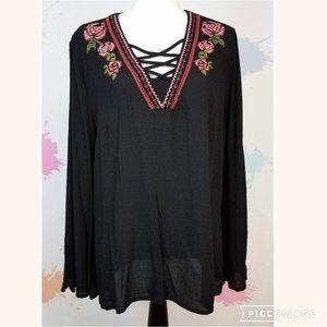 COMO VINTAGE Black Floral Blouse - Women's L